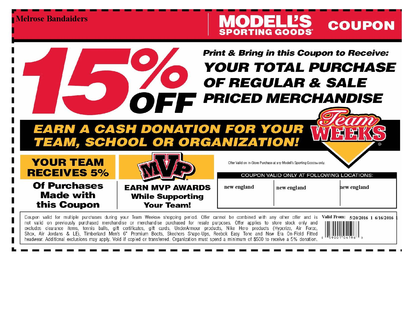 2016 Modells Coupon